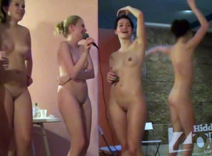 A gang of completely bare femmes sings..