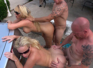 2  Wives Screw Neighbors Outside in..