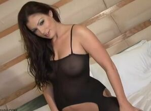 Italian brown-haired in body-suit nylon