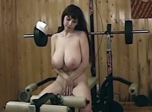 Immense  Russian young woman in the gym